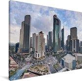 Schitterende luchtfoto van Manila Canvas 40x30 cm - klein - Foto print op Canvas schilderij (Wanddecoratie woonkamer / slaapkamer) / Aziatische steden Canvas Schilderijen