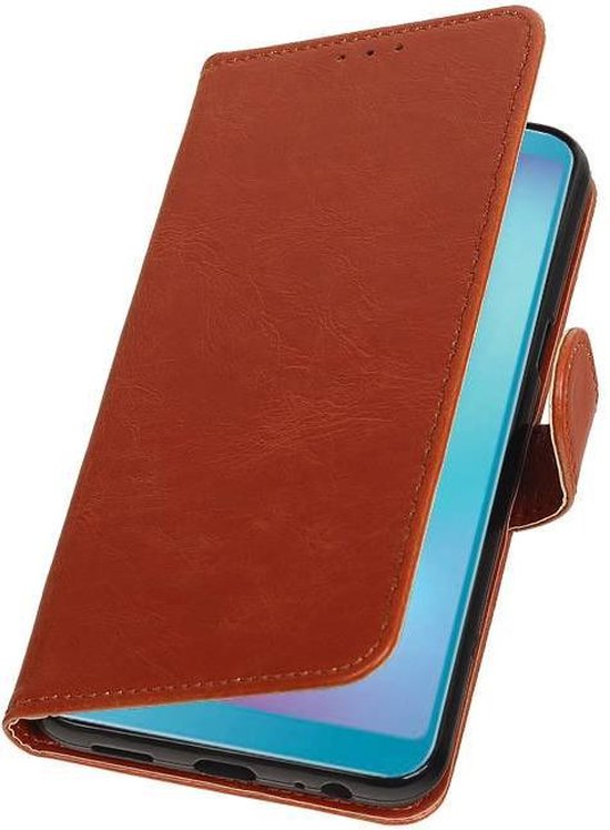 Pull Up Bookstyle voor Samsung Galaxy A6s Bruin