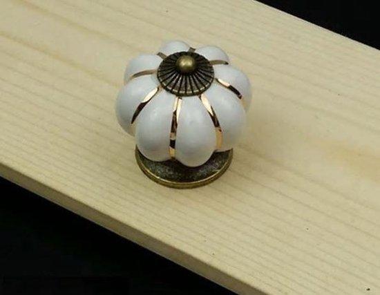 kast knop Rond Vintage wit handgreep handvat meubelknop
