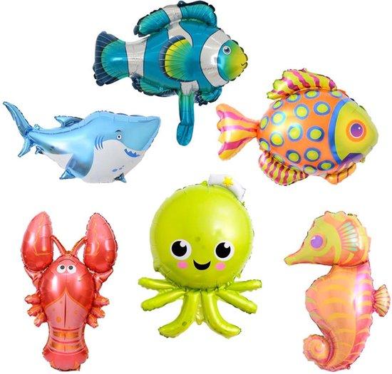 6 Stuks Folie Ballonnen Set - Verjaardag - Ballon - Vissen - Feest - Jarig - Party - Multipack - Groot - Glans - Mooi