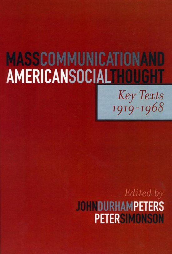 Boek cover Mass Communication and American Social Thought van Jane Addams (Onbekend)