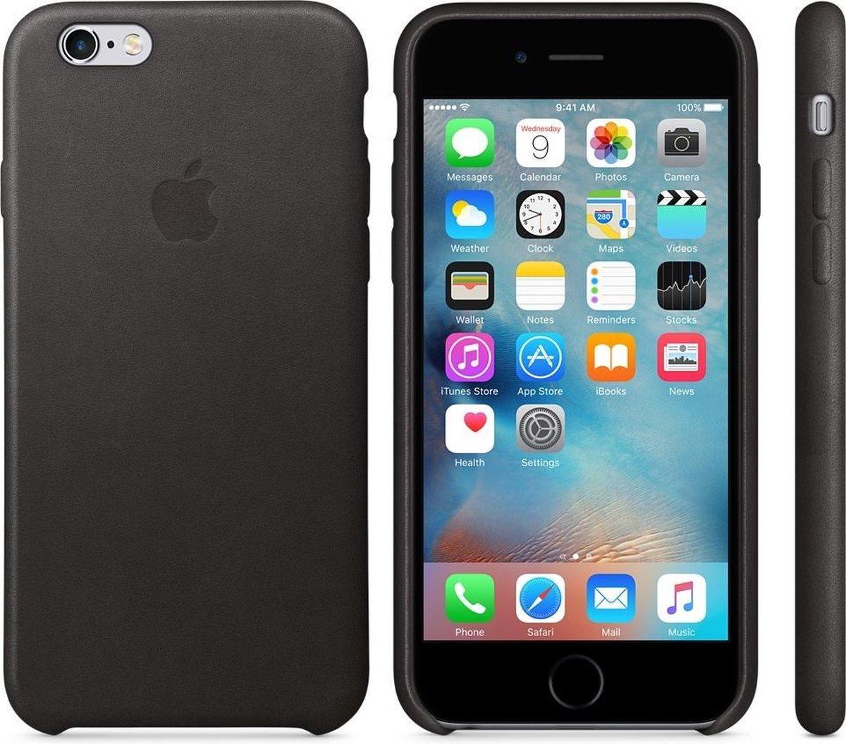 Apple iPhone 6;Apple iPhone 6S lederen hoesje- zwart