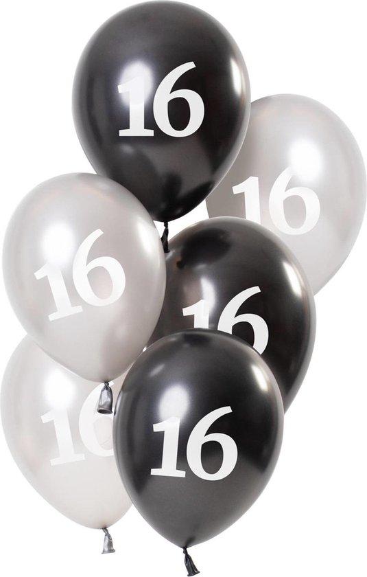 Ballonnen 16 Jaar Zwart 23cm 6st