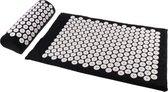 Parcura acupressuur mat met kussen 67x40 cm - acupunctuur spijkmat met 8500 drukpunten - incl. draagtas - zwart