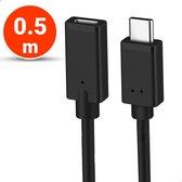 Vues USB-C 3.1 Verlengkabel - 0.5 Meter - Ondersteund 4k - USB type C - Female naar Male adapter kabel - Data + Opladen