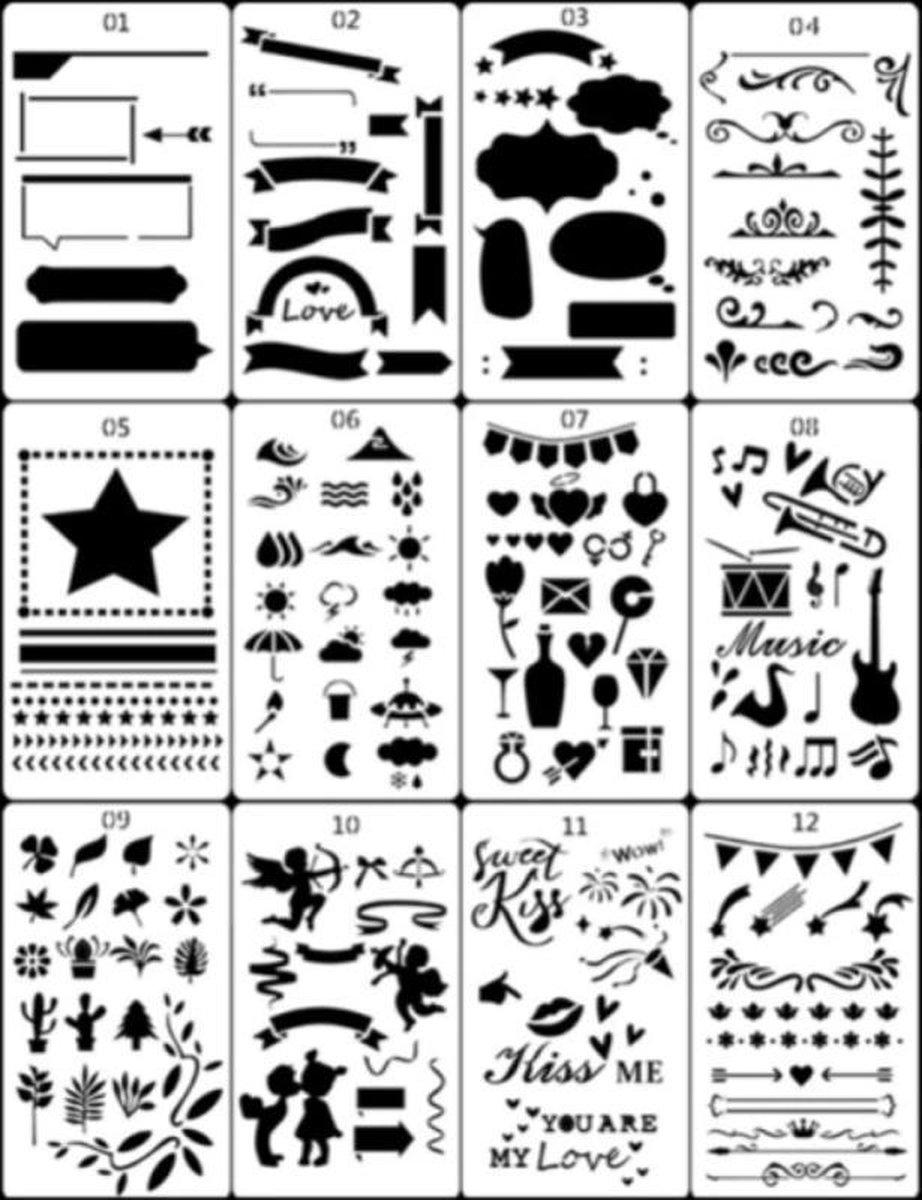 Bullet Journal Plastic Stencils - 12 stuks - Templates - Sjablonen - 10 x 18 centimeter - Handlettering toolkit - Knutselen - Decoratie - Accessoires