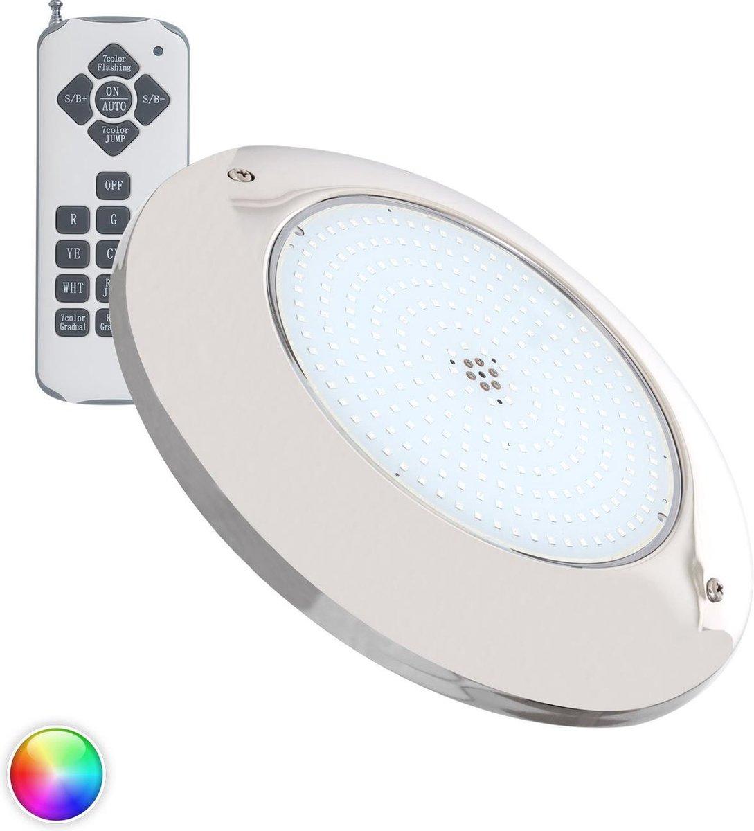 Zwembadlamp Opbouw LED 12V AC 20W RGB RVS - zwembad verlichting - onderwater verlichting - licht