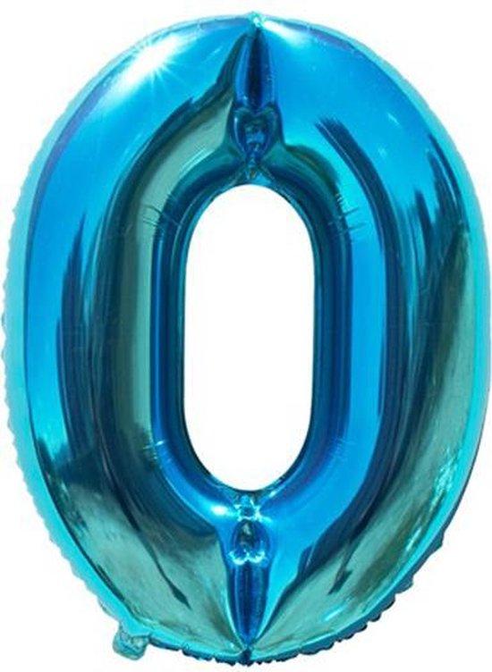 Cijfer ballon 0 jaar Babydouche - blauw folie helium ballonnen - 100 cm - blauwe 10 - 20 - 30 - 40 - 50 - 60 - 70 - 80 - 90 - 100 verjaardag versiering