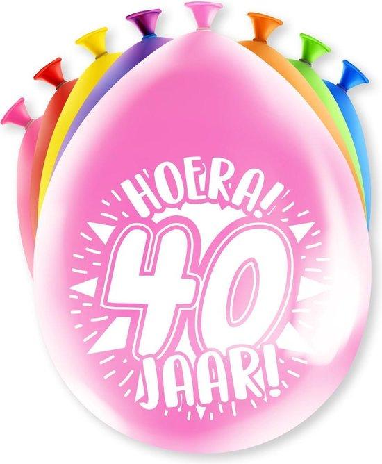 Ballonnen 40 Jaar Hoera 30cm 8st