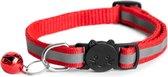 Ace Pets - Kattenhalsband met belletje veiligheidssluiting - Reflecterend - Halsband Kat - Kattenbandje - Rood