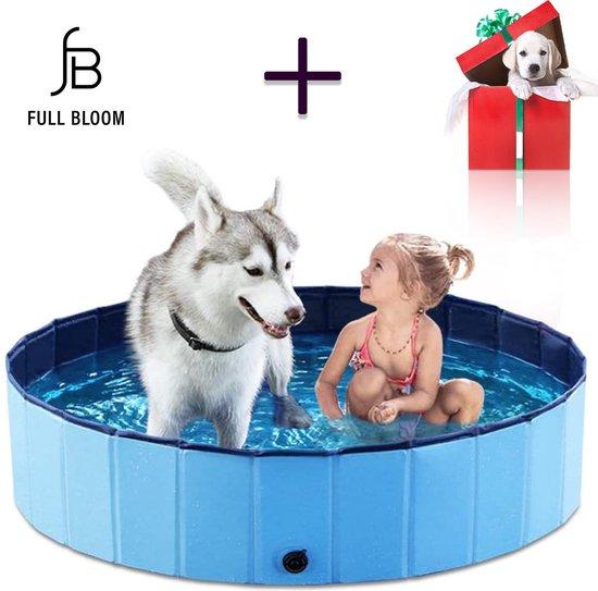 Full Bloom | Opvouwbaar Hondenzwembad Blauw | Hondenbad 120 x 120 x 30 cm | Inclusief Cadeau | Zwembad voor honden en andere huisdieren | Verkoeling | Opvouwbaar | Dieren zwembad | Camping