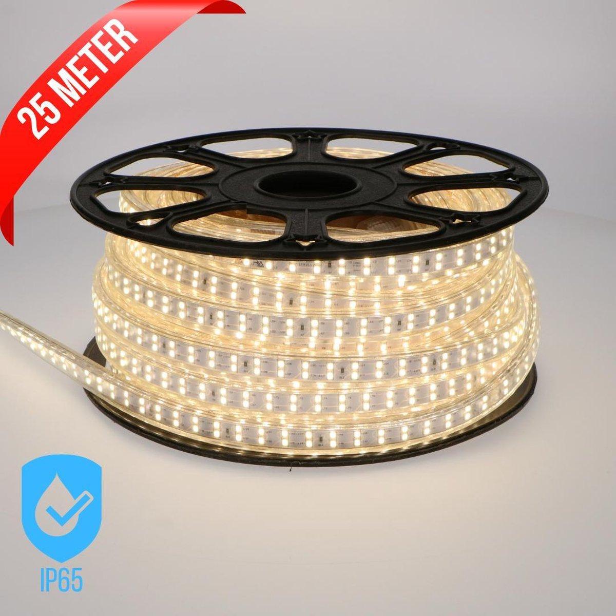 Proventa Waterdichte LED strip voor buiten - 1 x 25 meter - incl. Adapter - Wit