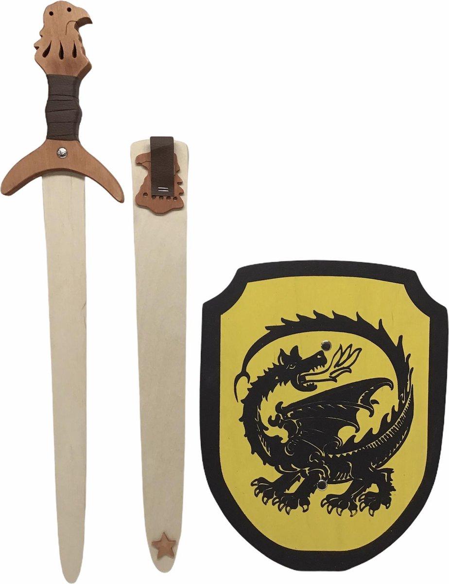houtenzwaard met schede adelaar en ridderschild geel met zwarte Draak kinderzwaard ridderzwaard ridder schild