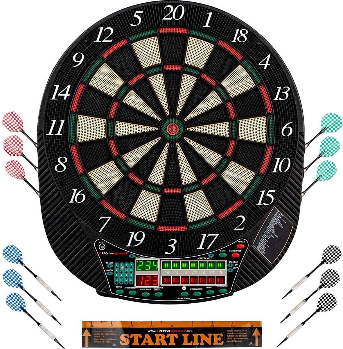 Gutos Elektrisch dartbord, met en zonder deuren, dartautomaat voor maximaal 16 spelers, inclusief werplijn, 12 dartpijlen en 100 soft-tips, geschikt voor feestjes en spelletjes, dartborden volwassenen, dartborden