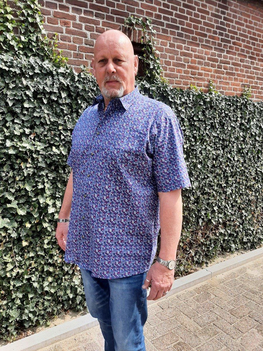 GCM Henderson Overhemd Blauw Korte mouw Maat 3XL BIG MEN SIZE