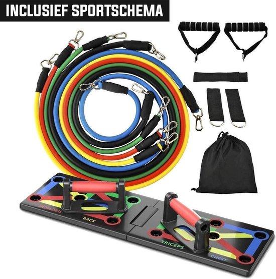 Fitsly - Push Up Bord met Resistance Band Set - Workout Board incl. Fitness Elastiek en Oefeningen - Bars en Grips - Home Gym