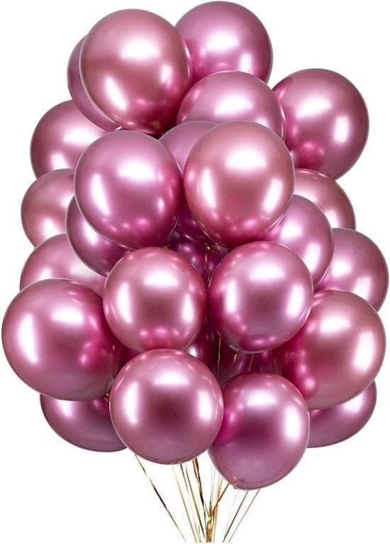 20 Metallic Ballonnen - Roze - 30 cm - Latex - Chroom - Verjaardag - Feest/Party - Ballonnen set -