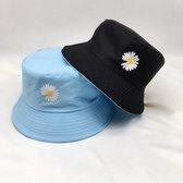 Bucket hat – Bloem - 2 in 1 - Dames - Heren - Zonnehoedje - Vissershoedje - Vissers Hoed – Dubbel - Baby Blauw - Zwart