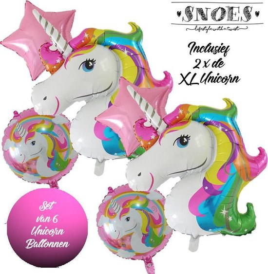 * Snoes * Unicorn * Eenhoorn Unicollors Kleurrijk Roze * Set van 6 Ballonnen XL * Unicorn set * Eenhoorn verjaardag * Hoera Jarig * Birthday