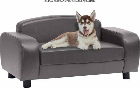 Lederen hondenbank - hondensofa - hondenmand - dieren bank - grijs