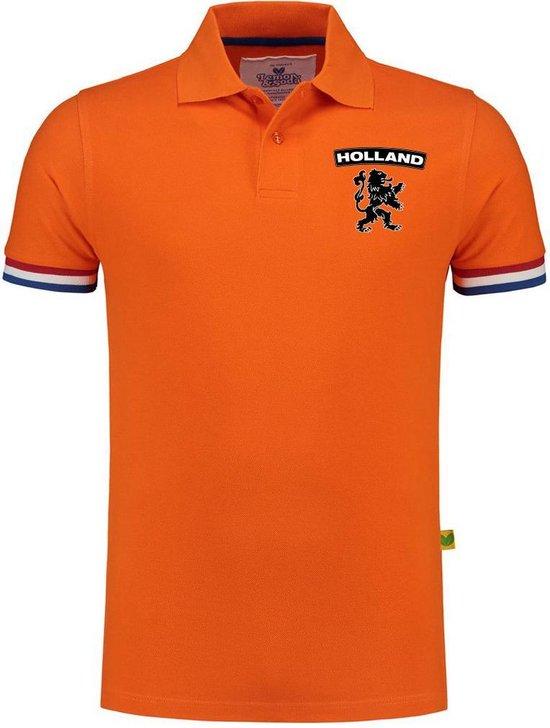 Luxe Holland supporter poloshirt oranje - 200 grams - heren - leeuw op borstkast - Nederland fan / EK / WK polo shirt / kleding M