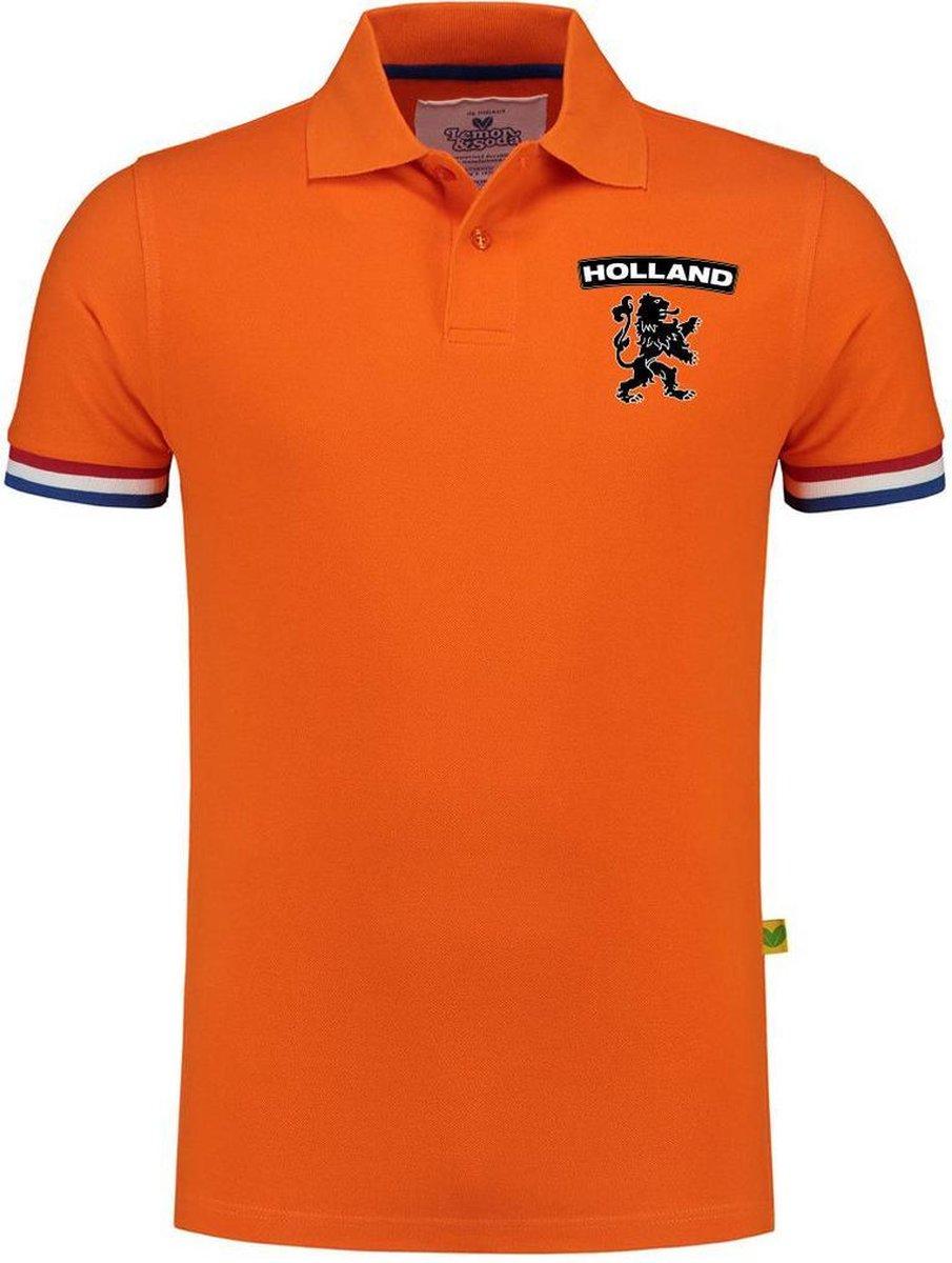 Luxe Holland supporter poloshirt oranje - 200 grams - heren - leeuw op borstkast - Nederland fan / E