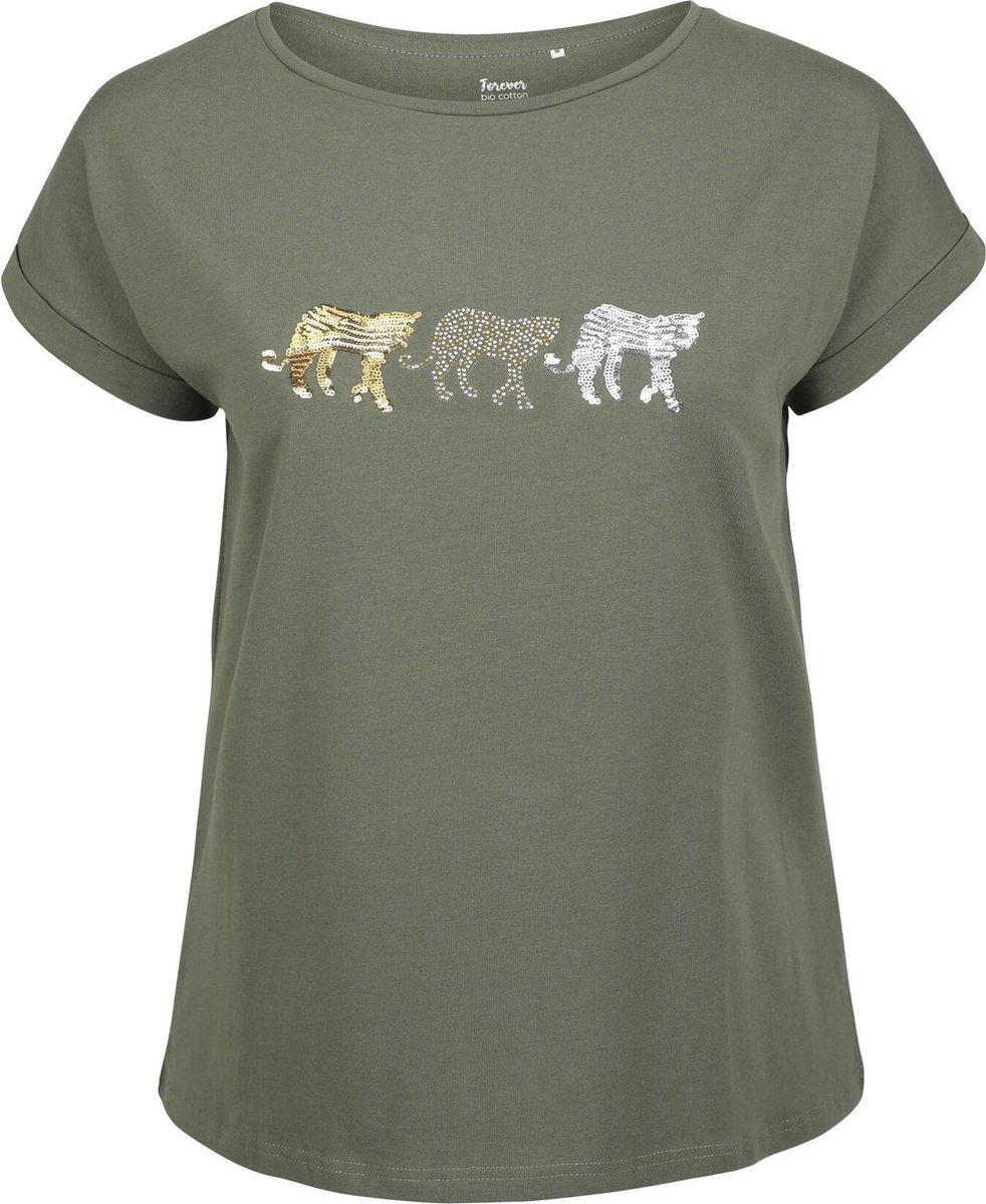 T-shirt met tijgermotief in biologisch katoen