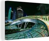 Moderne brug tijdens de nacht Canvas 180x120 cm - Foto print op Canvas schilderij (Wanddecoratie woonkamer / slaapkamer) XXL / Groot formaat!