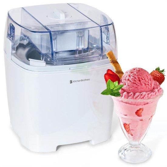 KitchenBrothers IJsmachine - Ice Cream Maker voor Zelfgemaakt Roomijs, Sorbetijs, Yoghurtijs - 1,5L - Wit
