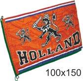 Vlag oranje Holland met leeuw   EK Voetbal 2020 2021   Nederlands elftal vlag   Nederland supporter   Holland souvenir   100 x 150 cm
