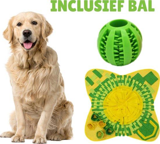 Snuffelmat Hond 70x70cm met GRATIS Rubberen Massage Bal voor het Gebit - Speelmat Hond - Denkspel hond - Honden Speelgoed - Anti Schrok Mat - Voedingsbal - Honden Snoepjes