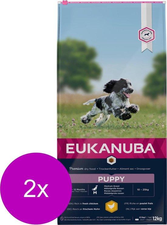 Eukanuba Growing Puppy Medium Breed Kip - Hondenvoer - 2 x 12 kg