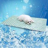 Koelmat Hond – koelkussen met gel - Verkoelende Mat - Honden Cooling Mat - 40 x 50 cm - Groen/Wit