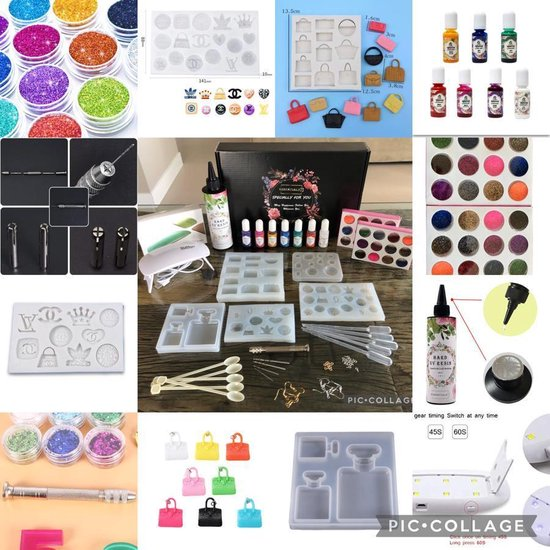 Afbeelding van Meest complete Uv Resin hars sieraden set / kit Designers Logos incl UV lamp & 7 kleuren inkt + vele accessoires - DIY Set - Epoxy - Resin Art - Gieten - Do it Yourself speelgoed