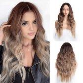 Pro-Care Kastanje Blond Ombre Kleur Pruiken Dames - 65 cm Lang Golvend Haar - Wig - Verstelbaar - Vederlicht 240g