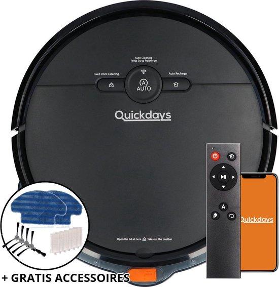 QuickDays® Robotstofzuiger | Met laadstation & Dweilfunctie | Inclusief GRATIS Accessoires Set