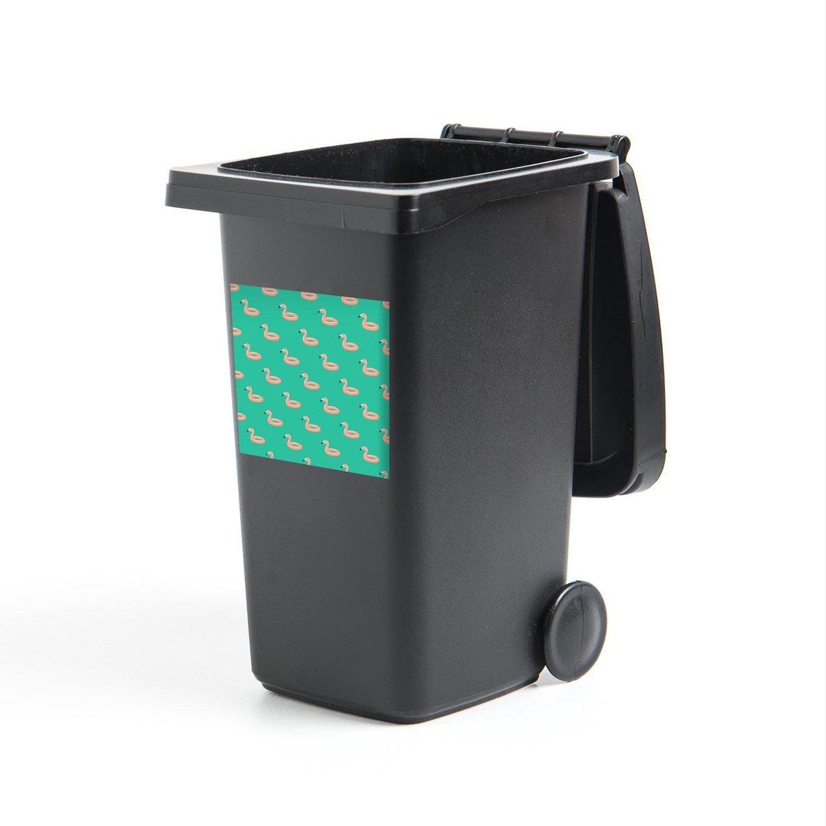 Container sticker Zomer - Flamingo - Zwemband - 40x40 cm - Kliko sticker