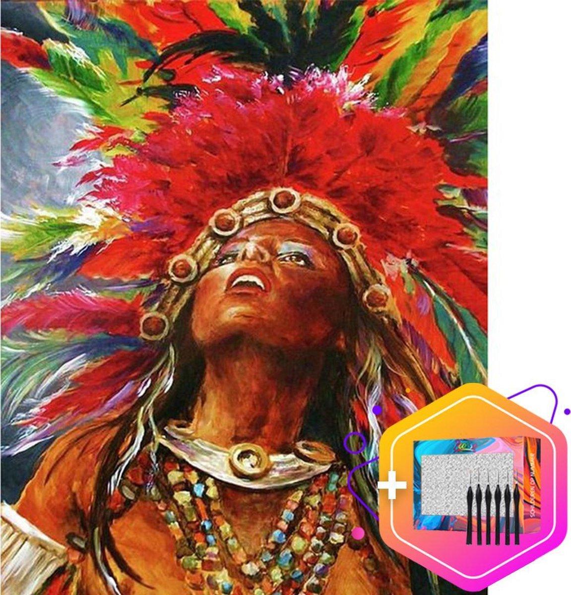 Pcasso ® Indiaan Colorful - Schilderen Op Nummer - Incl. 6 Ergonomische Penselen & Geschenkverpakking - Schilderen Op Nummer Volwassenen - Schilderen Op Nummer Dieren - Kleuren Op Nummer - 40x50 cm - Professionele 26-Delige Set