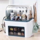 Paddio Multifunctioneel kruidenrek - Keuken organizers - Aanrecht organiser - Keuken accessoires organizer - Kruidenrek staand - Keukengerei houder - Kruidenrekken - Wit | Blauw