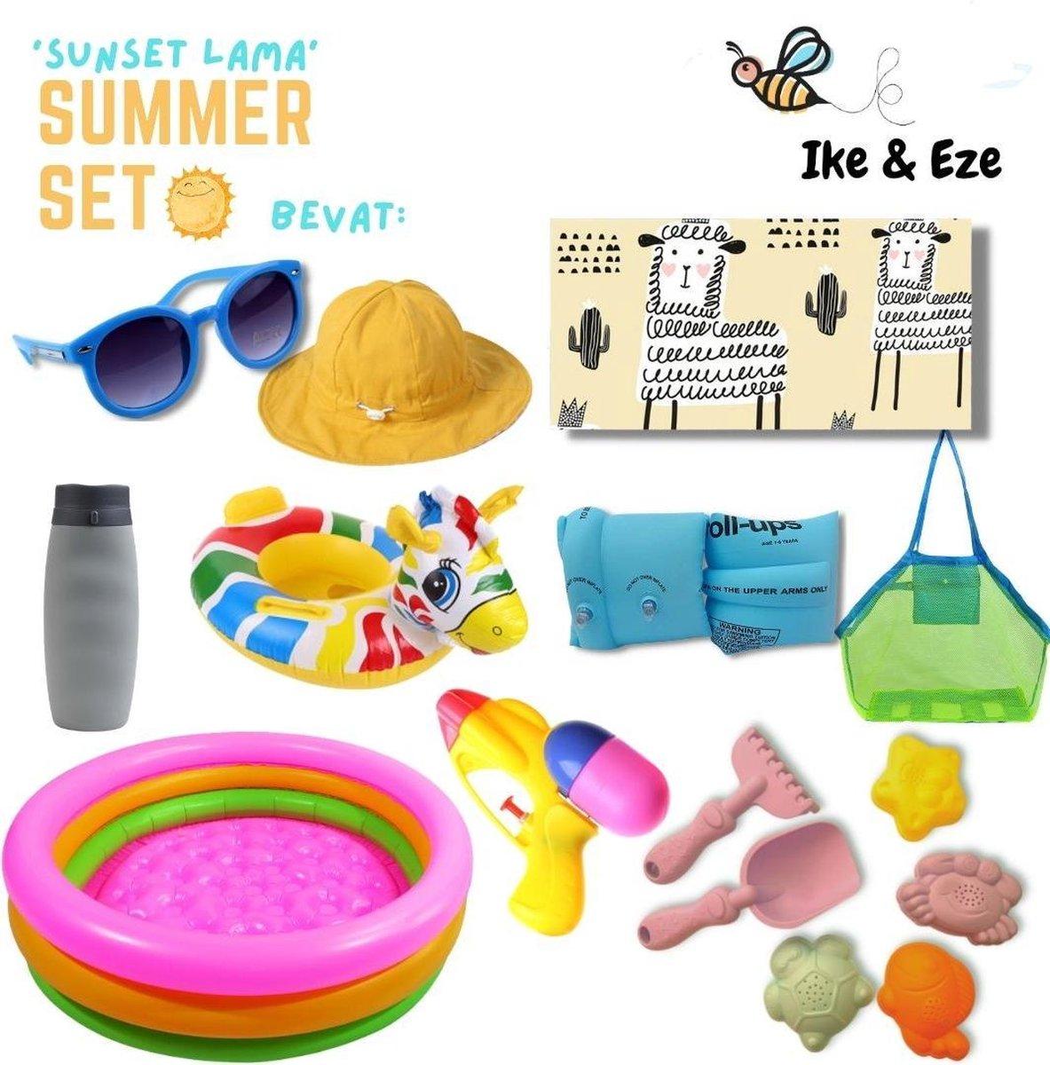 'Curly Sheep' Summer Set - Zomer Set - Strandlaken - strandtas - drinkfles - zonnebril - zon hoedje - opblaasbaar zwembad, zwembandjes en zwemband - zandvormpjes - schepje - hakje - waterpistooltje