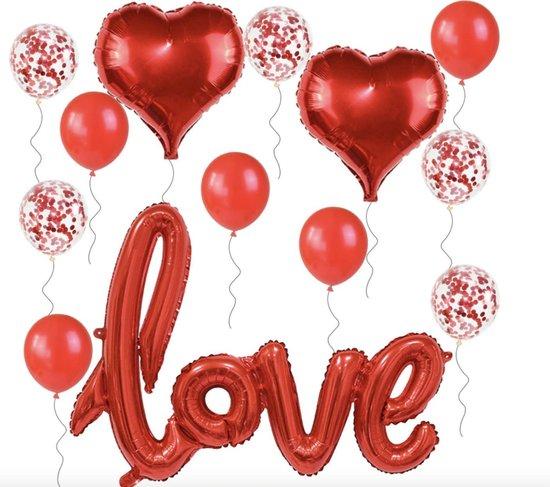 Ballonnen set Love - Ballon Hart Love Papieren Confetti - Folieballonnen set liefde Rood - Bruiloft Valentijn Jubileum Decoratie Feest Champagne