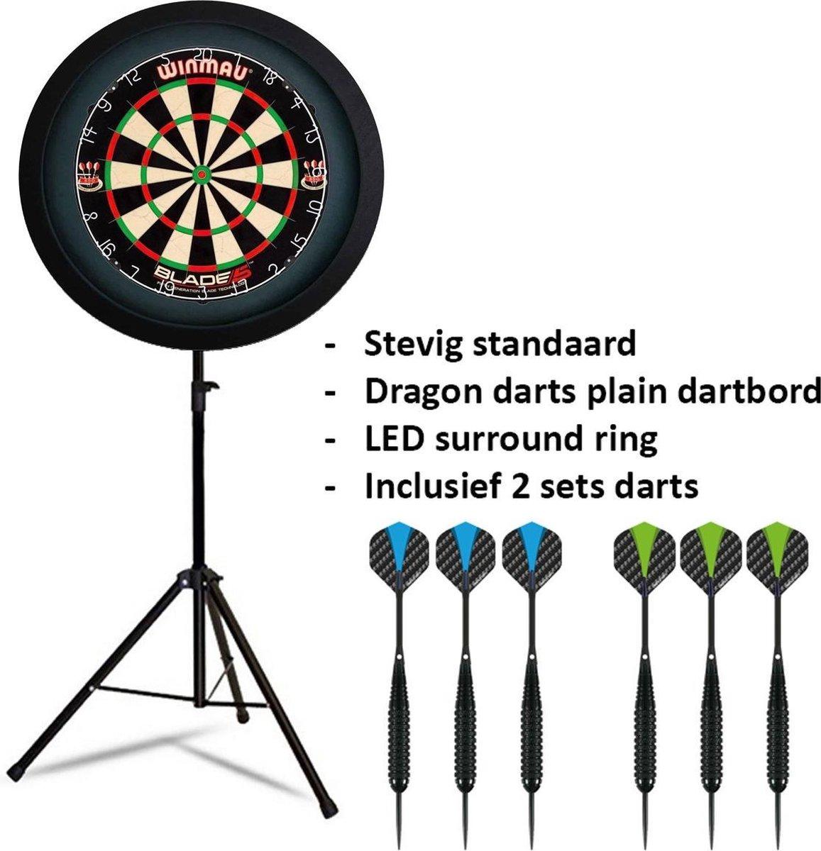 Dragon darts - Portable dartbord standaard LED pakket plus - inclusief Winmau Blade 5 - dartbord - LED surround ring - en - dartpijlen - zwart