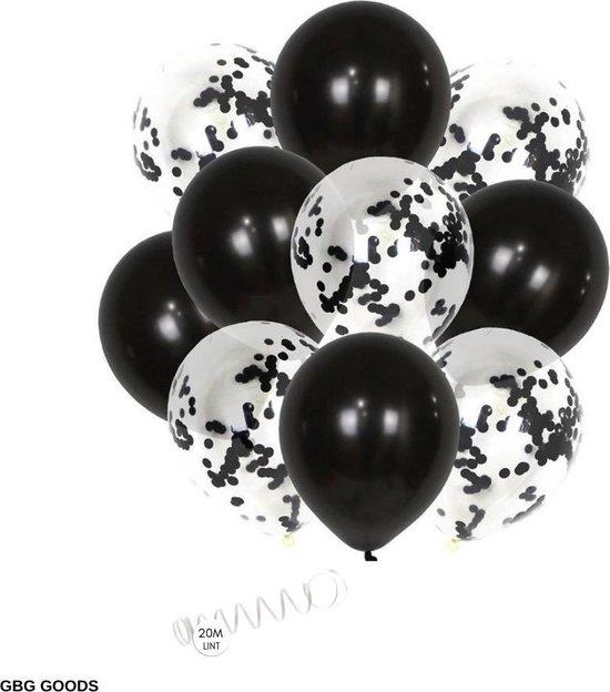 GBG 20 stuks Zwart Ballonnen met Lint – Decoratie – Feestversiering - Papieren Confetti – Black - Black Latex - Verjaardag - Bruiloft - Feest - Halloween