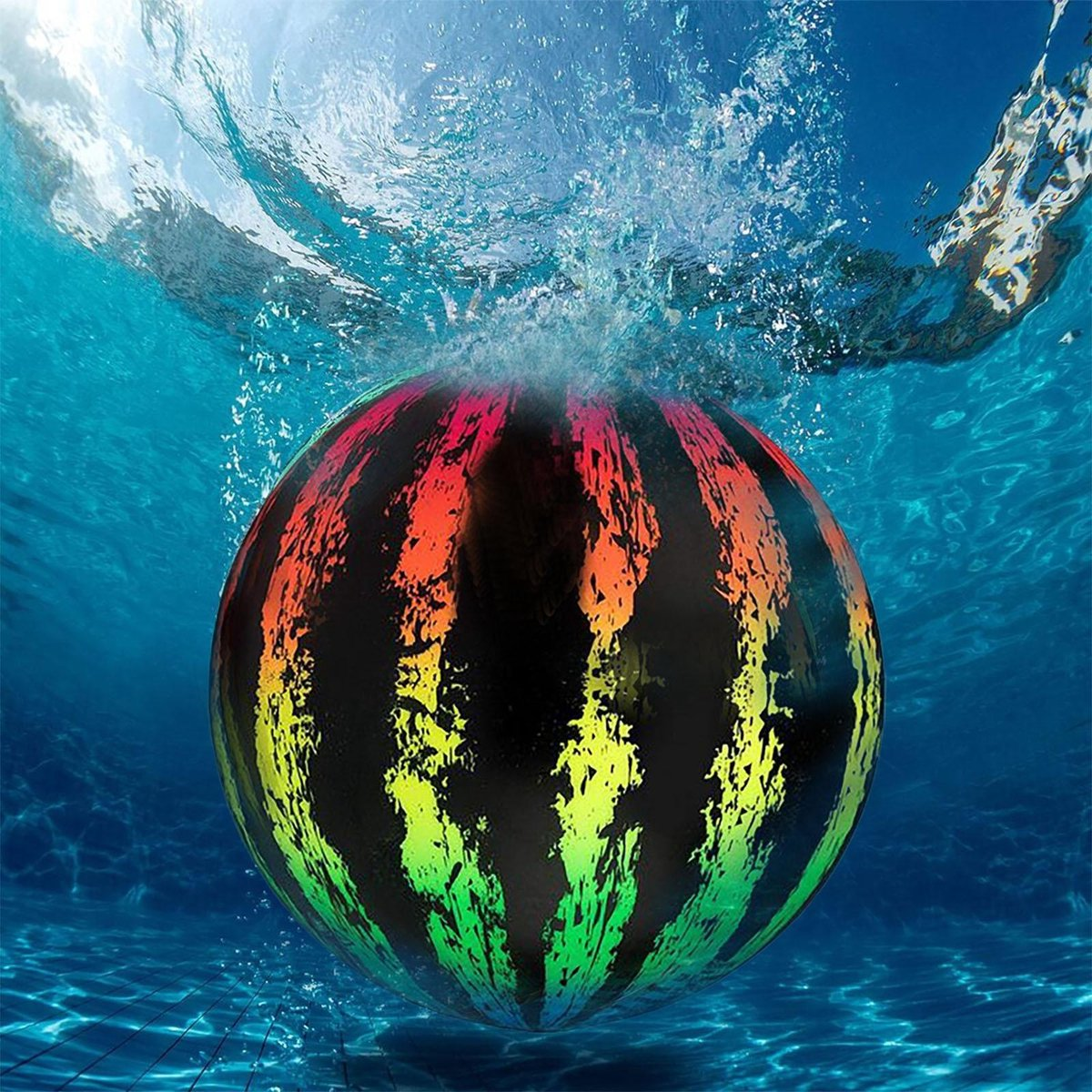 Ariko stevige onderwaterbal XXL | Onder water bal | Met water of lucht te vullen | Waterbal | Inclusief water vulstuk | 22,8 cm | regenboogkleuren | watermeloen bal