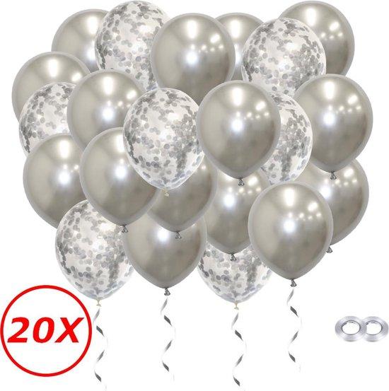 Verjaardag Versiering Helium Ballonnen Feest Versiering Decoratie Confetti Ballon Bruiloft Zilver - 20 Stuks