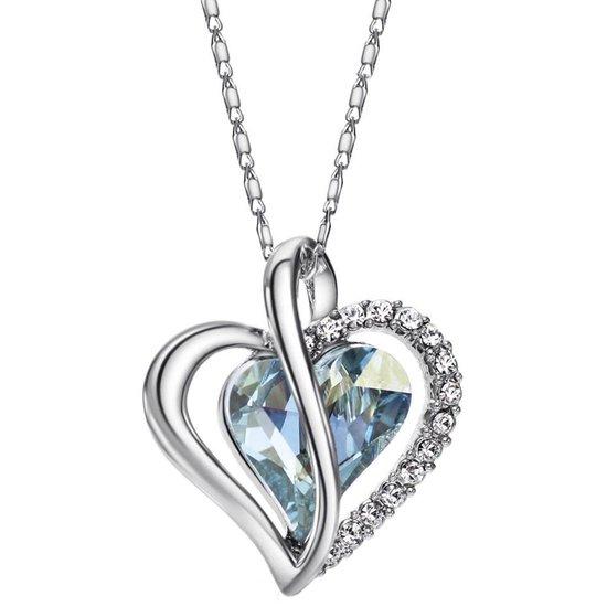 Victorious Dames Ketting – Swarovski Kristal Hart – Zilver/Blauw – 47cm