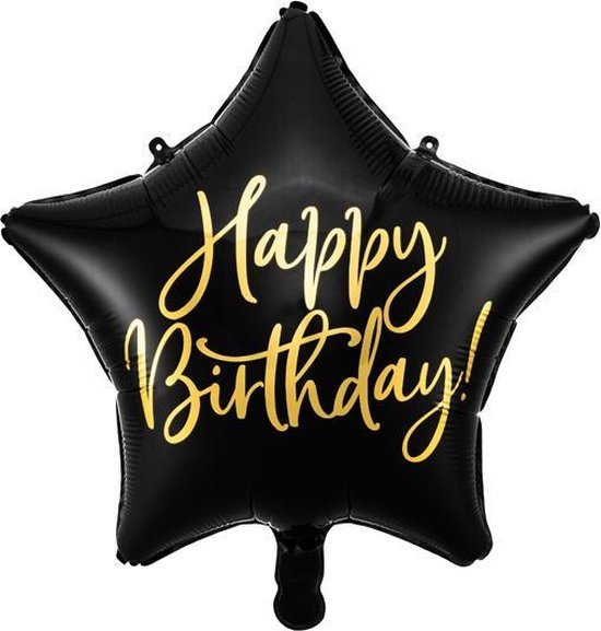 Folieballon ster Happy Birthday! zwart en metallic goud, doorsnee 40cm