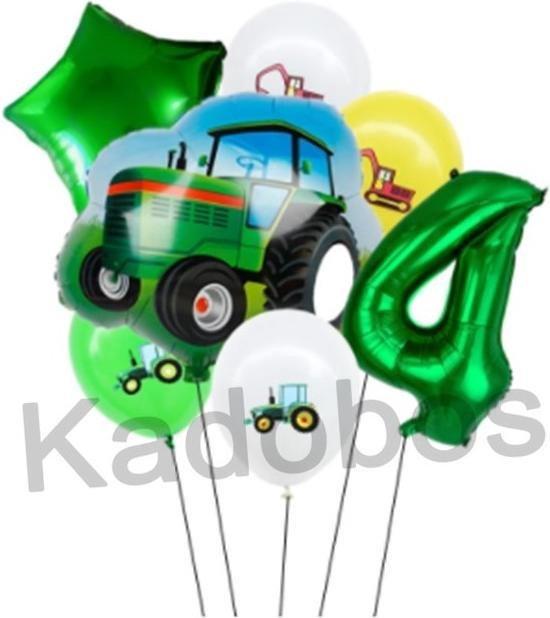 Tractor ballonnen set 4 jaar verjaardag - folie ballon 7 delig