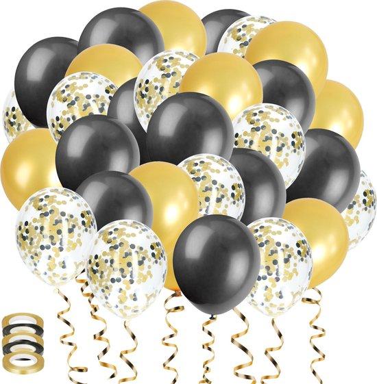 50x Zwart en Goud Papieren Confetti Helium Feest Ballonnen - Verjaardag Versiering - Abraham Sarah - Ballonnenboog Maken - Latex
