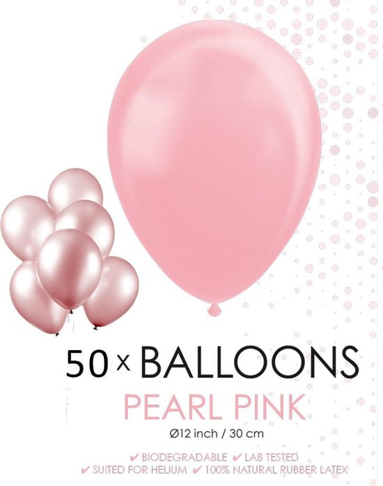 Globos Ballonnen 30,5 Cm Latex Roze Parelmoer 50 Stuks